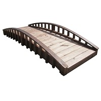 SamsGazebos 8 foot Crescent Japanese Wood Garden Bridge