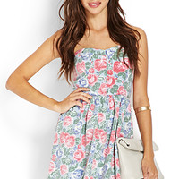 FOREVER 21 Sweetheart Floral Chambray Dress Light Blue/Pink Large