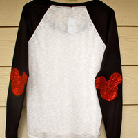 "The ""Dazzle Patch"" Mickey Baseball Tee -  w/Mickey  Elbow Patch"