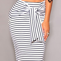 White Striped Tie Front Pencil Bodycon Midi Skirt