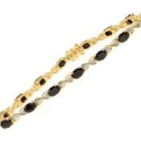 9ct Yellow Gold Sapphire and Diamond Set Fig 8 Link Bracelet