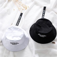 Fishermen's Hats Ulzzang Hiphop Street Fashion Bucket Hats Men Women Summer Autumn Sunshade Letters With Belt UK Wind Topee