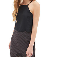 FOREVER 21 Plaid Pencil Skirt Charcoal/Black