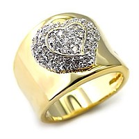 Gold Plated Rings LOAS830 Gold+Rhodium 925 Sterling Silver Ring with CZ