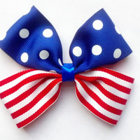 Fourth of July Pinwheel Hair Bow, 4th of July Hair Bow, Polka Dot Hair Bow, Stripe Hair Bow, Red White and Blue Hair Bow, Patriotic Hair Bow
