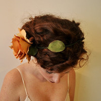 Peach Champagne Rose with Wire Stem and Leaves Bridal by SewRed