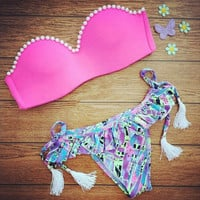Pink Pearl Two Pieces Comfortable Swimsuits Bikini Set