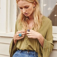 SANDY DAYS BELLED SLEEVES KHAKI SHIRT