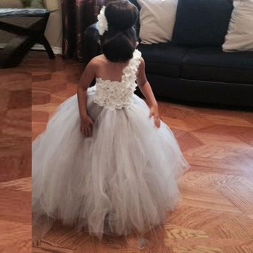 White Flower Girls Dress for Wedding Tulle One Shoulder Girl Pageant Gowns Long Cheap Applique First Communion Dresses For Girls