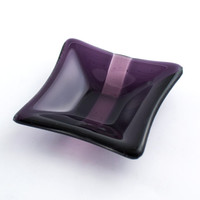 Fused Glass Ring Dish - Jewelry Holder - Small Glass Bowl - Catch All - Trinket Tray - Condiment Server - Purple and Pink - Gift for Her