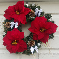 Poinsettia christmas wreath- green and red poinsettia christmas tree wreath- christmas door wreath