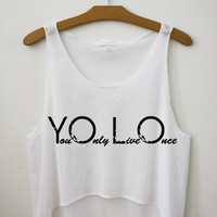 YOLO in Black by Hipster Tops