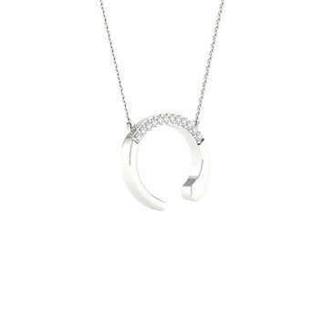 10k White Gold Round Diamond Initial C Letter Necklace 1/20 Cttw