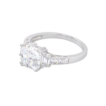 Princess Cut Clear CZ Sterling Silver Ring 9mm Cubic Zirconia