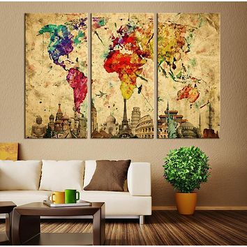 Watercolor World Map Canvas Print Large World Map Wall Art XLarge World Map Canvas Print The 7