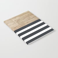 Navy stripe + wood Notebook by Urban Exclaim Co.
