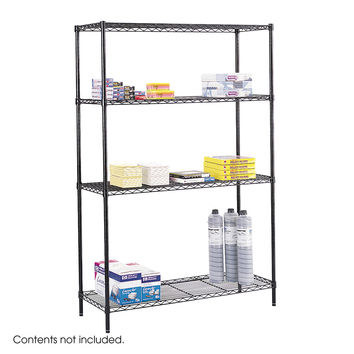 Safco 18 x 48 Office Industrial Garage Commercial Wire 3 Shelving Storage Starter Unit Black