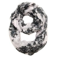 Tabitha Floral Infinity Scarf in White with Black and Gray Print