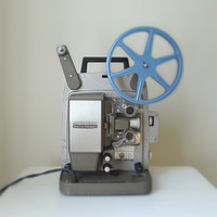 Vintage 1950s Bell Howell Film Projector, 8mm, Autoload - mid century, silent movie, home decor, gift for him