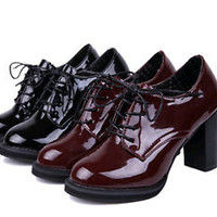 Womens new Shiny patent leather Lace up Chunky high heels casual shoes