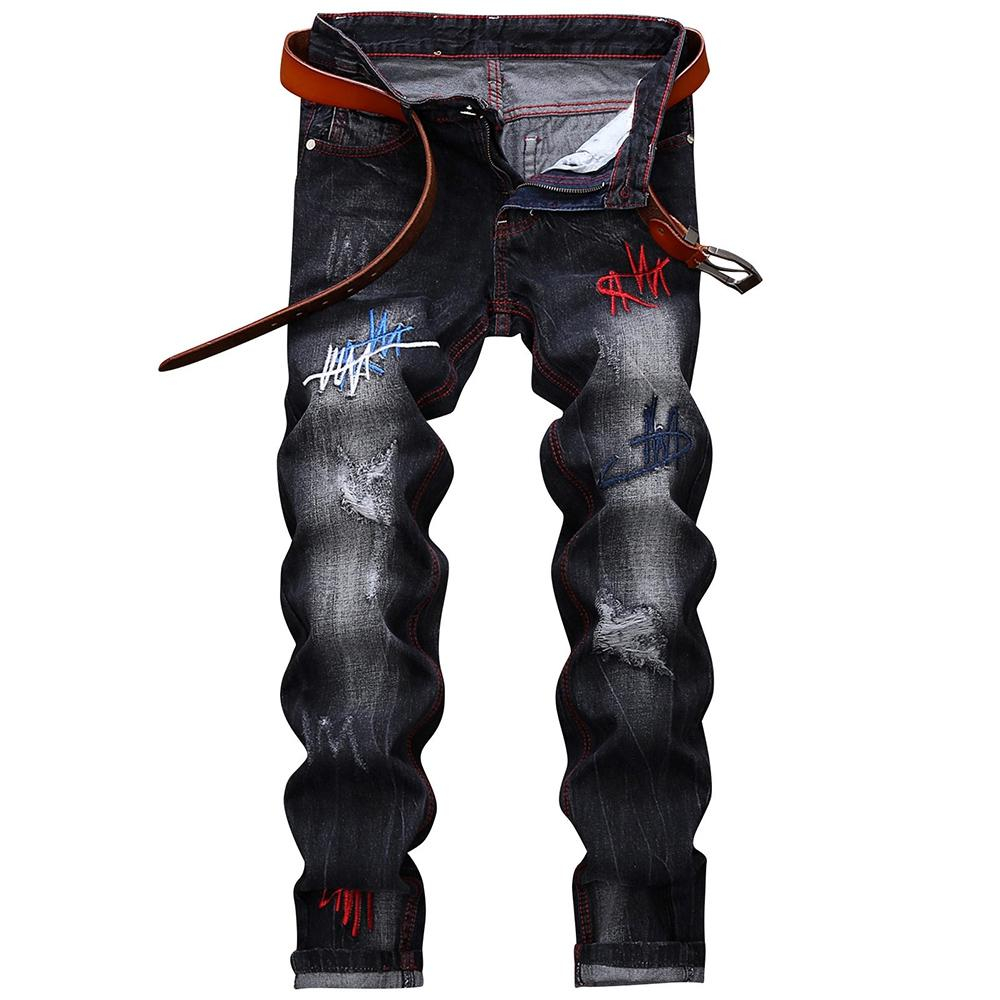 Image of Men's Straight Leg Embroidery Distressed Fashion Jeans
