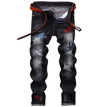 Men's Straight Leg Embroidery Distressed Fashion Jeans
