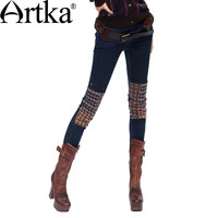 Artka Women's Pencil Pants Skinny Patchwork Pockets Zippers Button Slim Thermal Knitted Winter Elastic Jeans  KN16135D