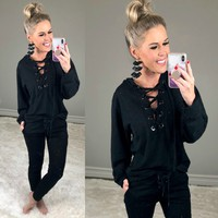 Distressed Lace Front Hoodie