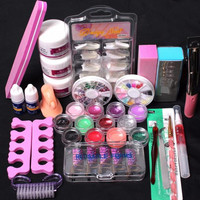 2017 New arrival Professional 24 in 1 Acrylic Nail art Tips Liquid Buffer Glitter Deco Makeup tools Full Nail art decorations