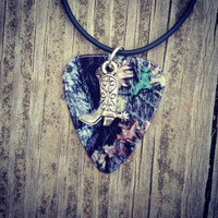 Mossy Oak Camo Camouflage guitar pick necklace with cowboy boot charm country jewelry for southern farm girl cute unique gift
