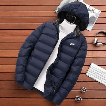 NIKE new winter cotton jacket men's thickening trend hooded cotton clothing Blue