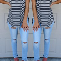 The Hunt For High Thigh Slit Skinny Jeans