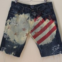 Mens USA American Flag SHRed Bleached Reworked Jean Shorts