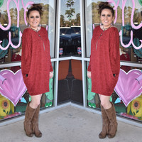 Red slouchy dress