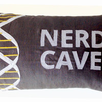 Nerd Cave Custom Throw Pillow Cover Grey Linen White Embroidery -12x20 -Gift -Valentine -Gift For Him -Graduation -Bachelor Pad -Dorm Decor