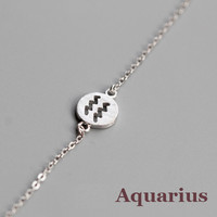 925 Sterling Silver 12 Constellation Bracelet (Aquarius)