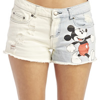 Dip-Dyed Mickey Mouse™ Denim Shorts | Wet Seal