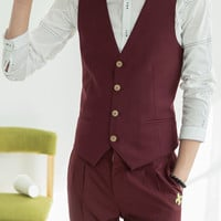 Fashion Splicing Design Slimming Cotton V-Neck Sleeveless Waistcoat and Pants For Men