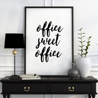 Office decor minimalist poster office wall art work poster, printable men gift, printable art, Office Sweet Office, Typography Print