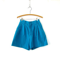 Vintage 80s Turquoise Blue Jean Shorts Boho Pleated Wide Leg Shorts Pants High Waist Shorts Hipster Indie Girl 24 Inch Waist Small