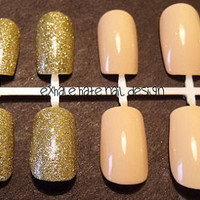 Nude Beige with Gold Glitter Accents False Nail Set