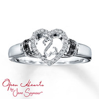 Open Hearts Ring 1/15 ct tw Diamonds Sterling Silver