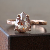 Custom Natural Rose Cut Red or Chocolate Diamond Engagement Ring