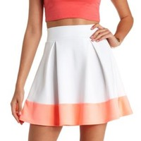 Neon Color Block Pleated Skater Skirt - White Combo