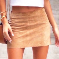 Slim Leather Skirt Package hip Brown skirt