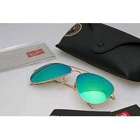 RayBan Aviator Sunglasses flash Green color