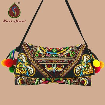 Buy 1 get 1 free Vintage Fashion embroidery women handbag Canvas cover Shoulder Messenger bags Ethnic cloth Small bags