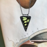 Electric Green Swordtail Triangle Butterfly Necklace