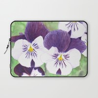 Pensées / Pansies Laptop Sleeve by Savousepate