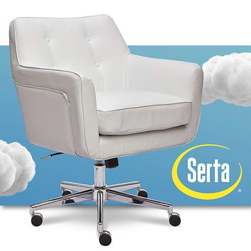 Serta Ashland Ergonomic Home Office Chair with Memory Foam Cushioning, Chrome-Finished Stainless Steel Base, 360-Degree Mobility White Bonded Leather